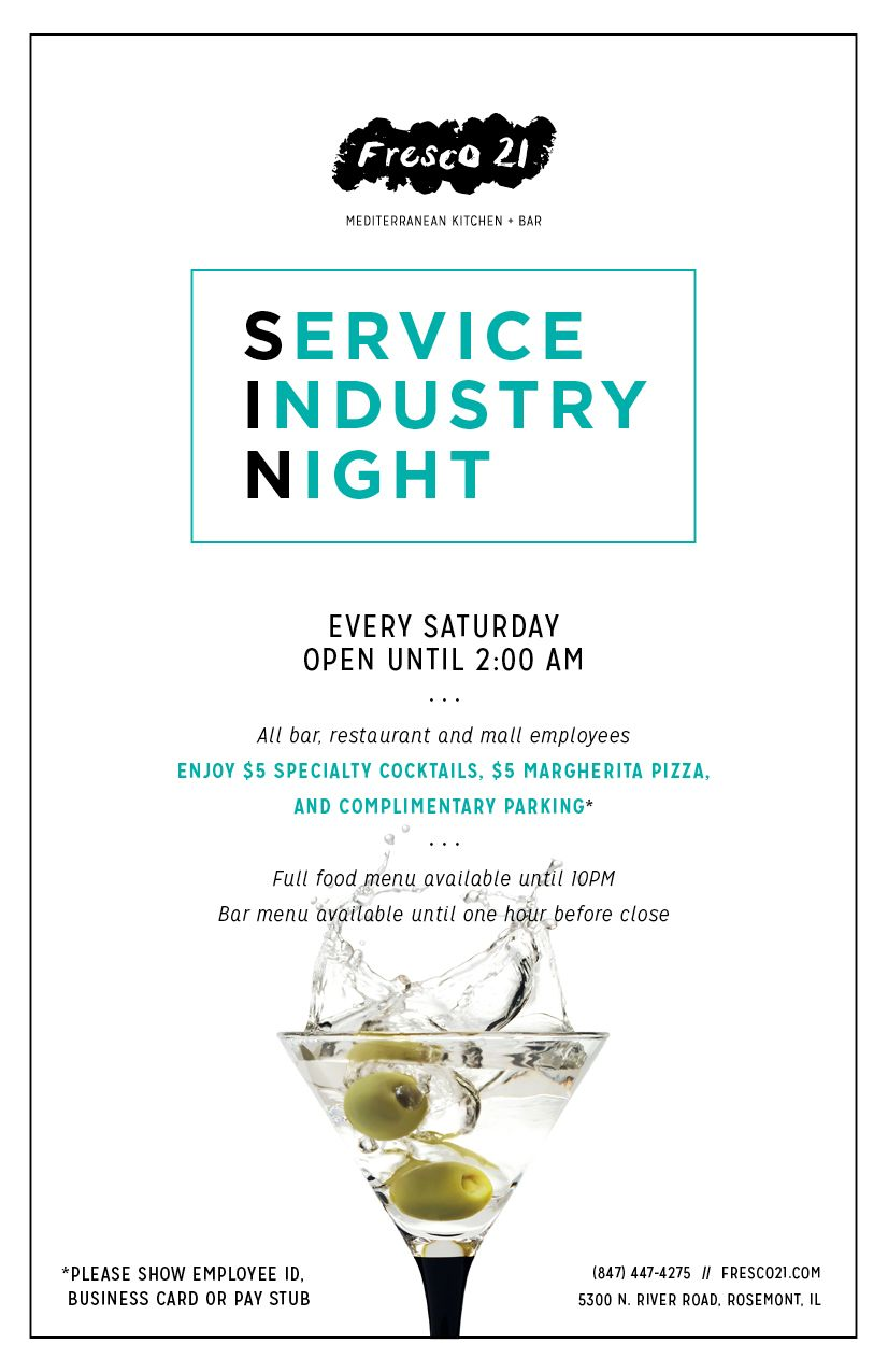 Fresco 21 mediterranean kitchen bar is pleased to announce the launch of service industry night sin every saturday bar restaurant and mall