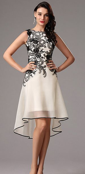 030d2dfafa Sleeveless Black Lace Applique Cocktail Dress Party Dress (04160800 ...