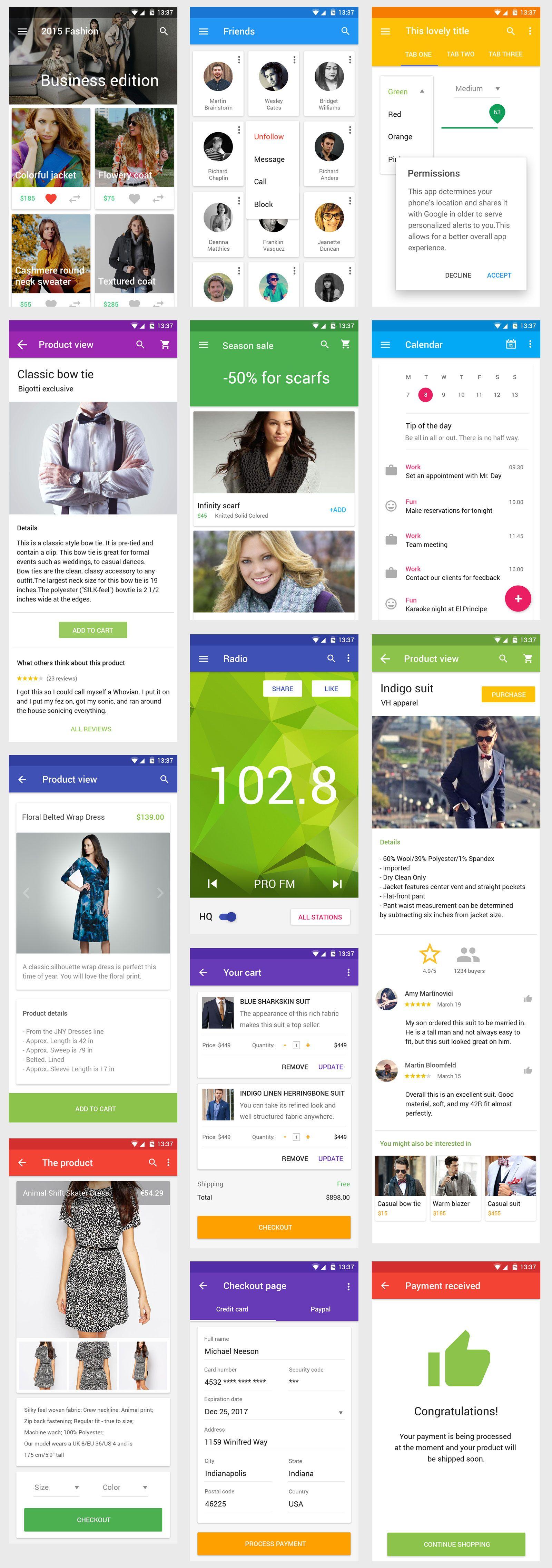 Vonn Material Design Mobile UI Kit | UX | Ios app design