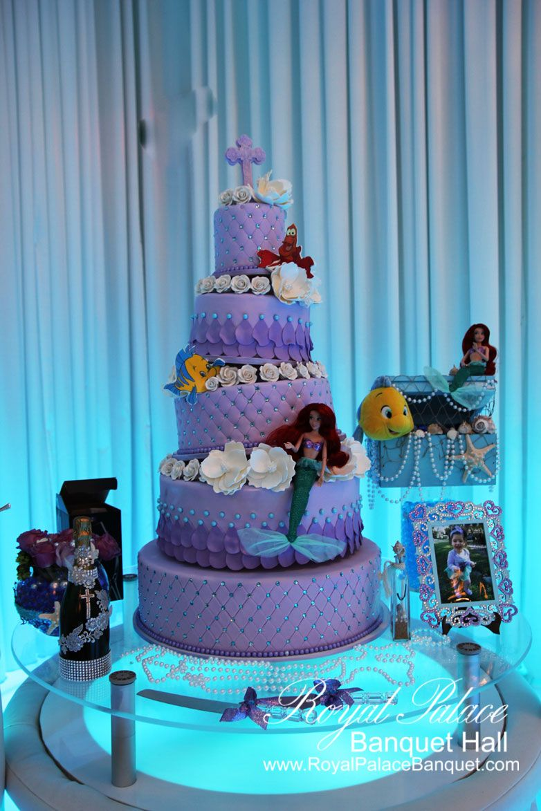 Five layer purple little mermaid theme cake for baptism at