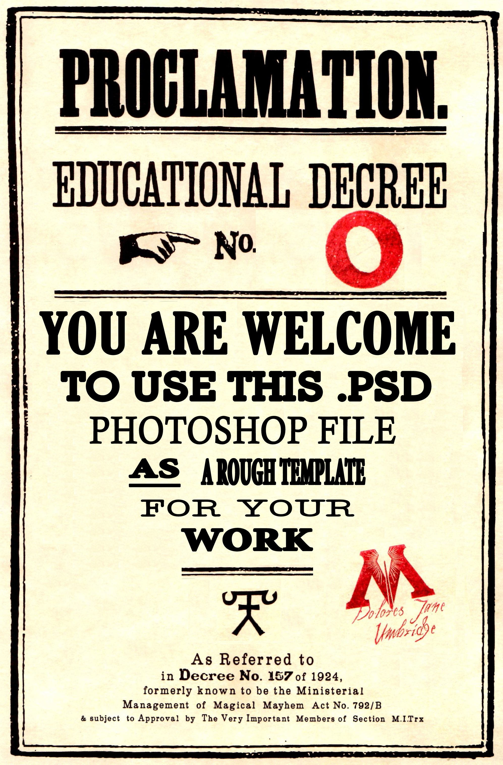 Image result for harry potter educational decree template editable.