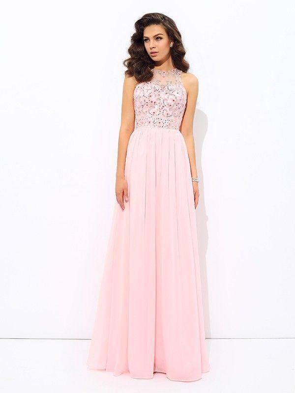 de5d3df71 A-line/Princess Jewel Beading Sleeveless Long Chiffon Dresses ...