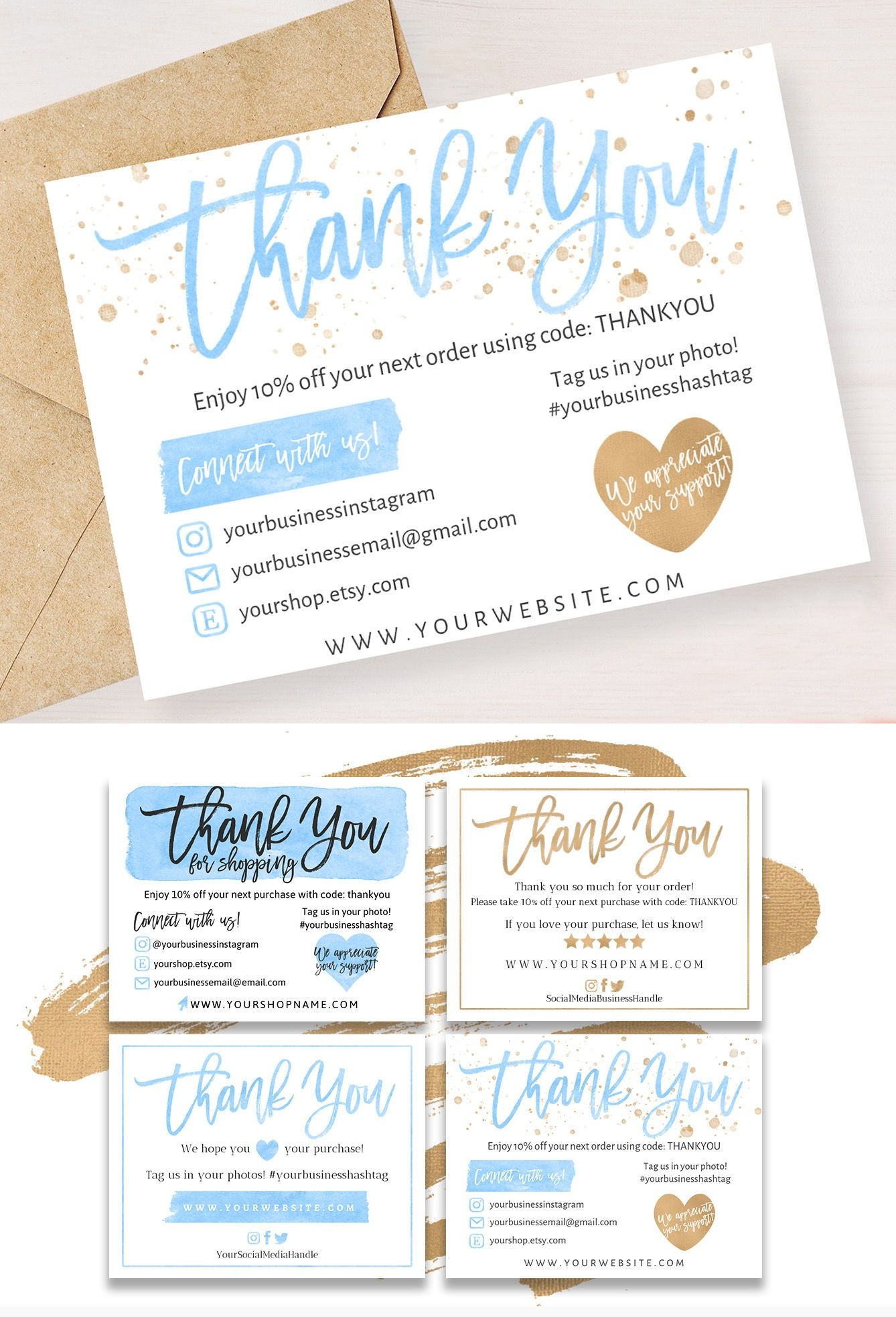 4 Diy Templates Thank You For Your Order Card Blue Gold Etsy In 2021 Business Thank You Notes Thank You Card Template Thank You Cards