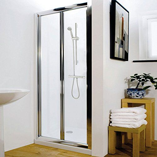Trueshopping grade bi fold bathroom reversible 4mm safety glass trueshopping grade bi fold bathroom reversible 4mm safety glass shower doors panel with polished chrome planetlyrics Gallery