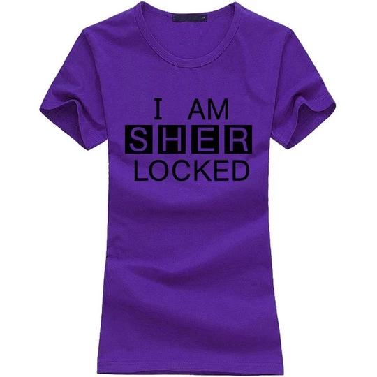 2019 I Am SHER Locked print women tshirt Sherlock Holmes funny cotton casual tops tees fashion harajuku brand punk t-shirt femme