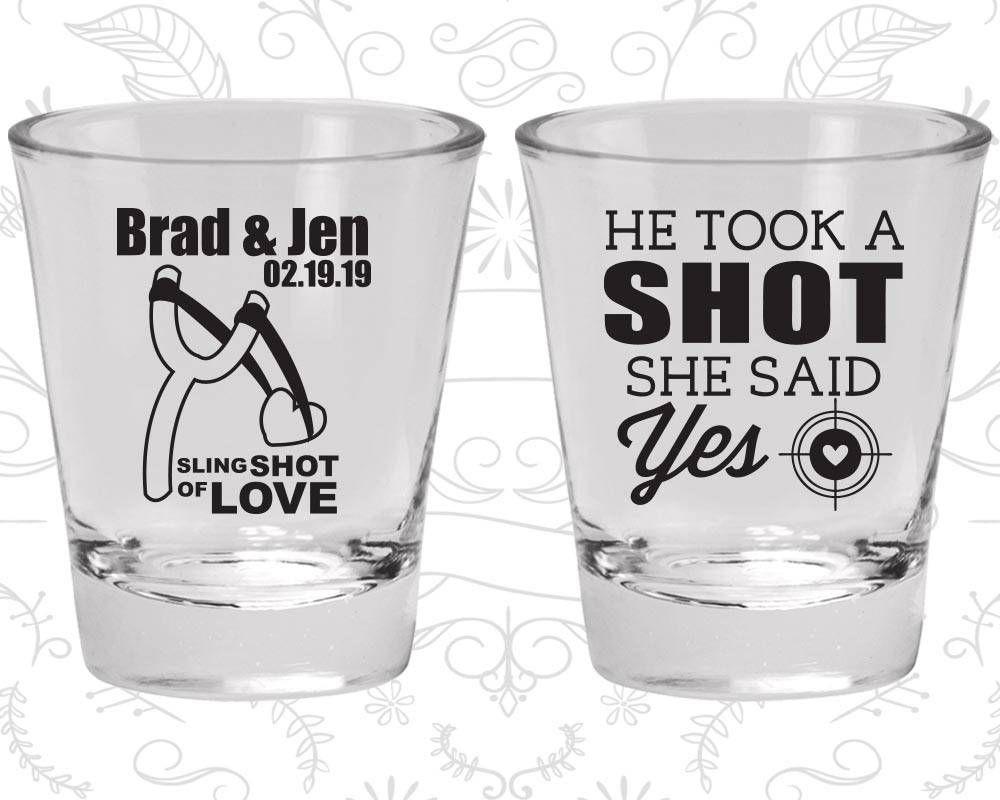 He Took a Shot, She Said Yes, Wedding Shot Glasses, Sling Shot of ...