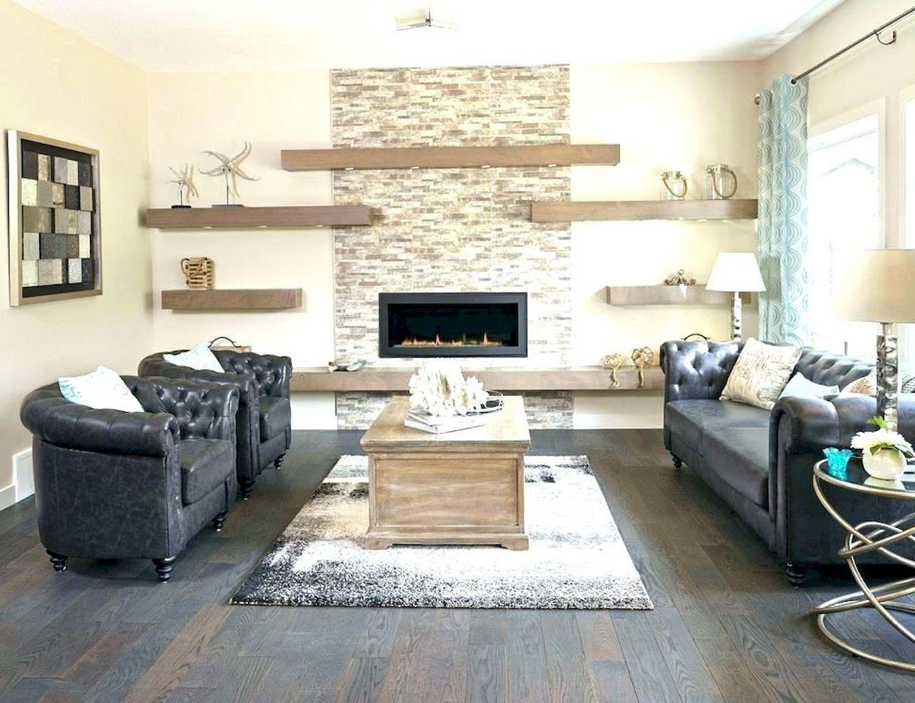 55 Brilliant Floating Shelves Design for Living Room Ideas ...