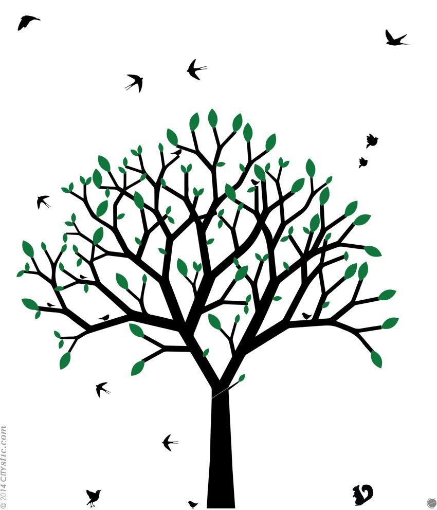 sticker mural arbre graphique arbre au printemps design droit pur avec feuilles de couleurs. Black Bedroom Furniture Sets. Home Design Ideas