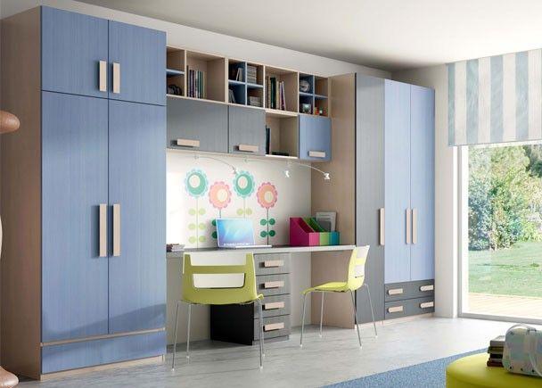 Juvenil litera doble vertical abatible y armarios for Habitaciones juveniles dobles