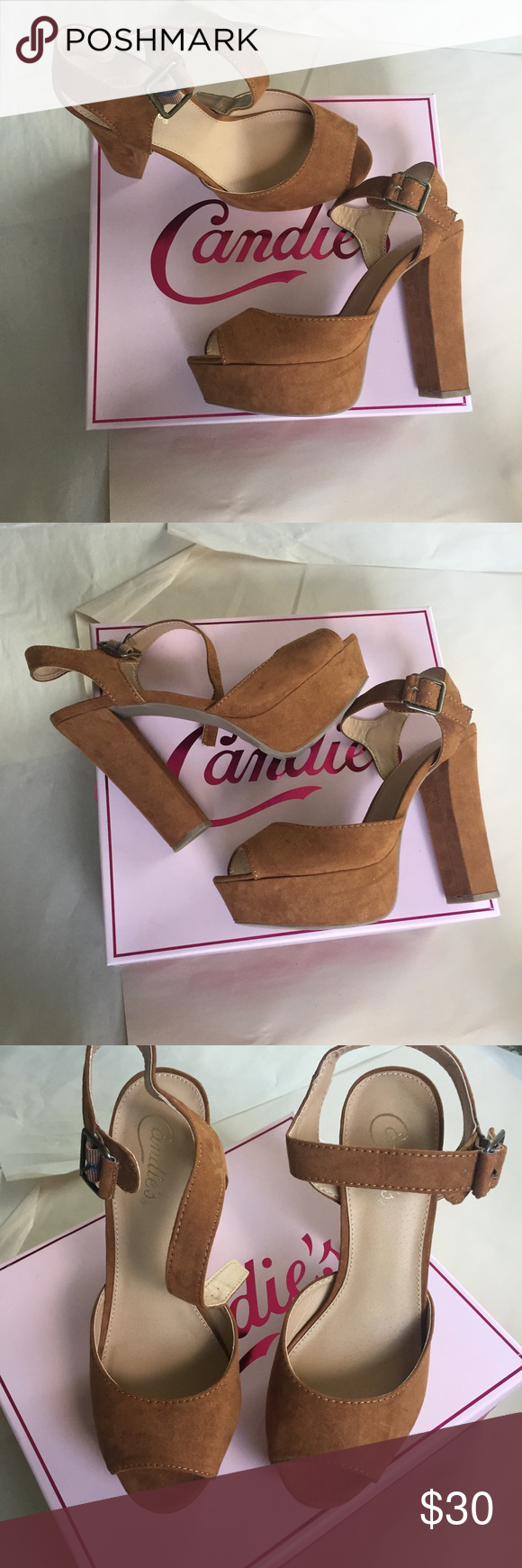 🎊🎊 1 HOUR SALE 🎊🎊 Super cute and trendy block heel partnered with a nice platform! Gorgeous chestnut color that will go with any outfit! 🌟same or next day shipping on all orders (except weekends)🌟make me an offer!🌟 Candie's Shoes Heels