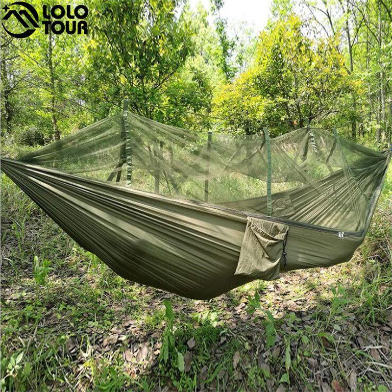 2 Personne Extérieur Camping Nylon Hamac parachute Suspendu Balançoire Couchage Lit