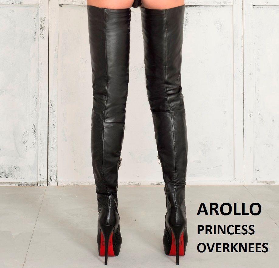 89c4ee82407 High Heel Leder Stiletto Overknee Stiefel