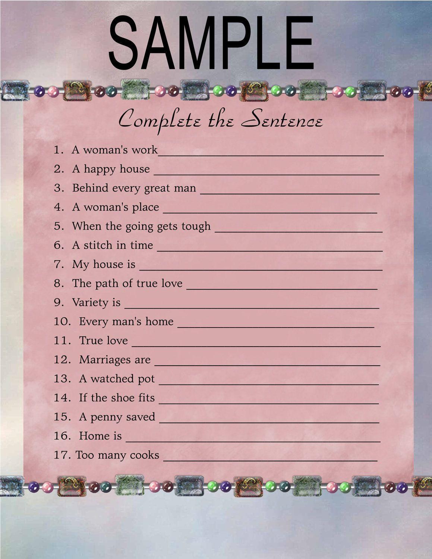 Games For Kitchen Tea Bridal Shower Bridal Shower Game Complete The Sentence Digital File