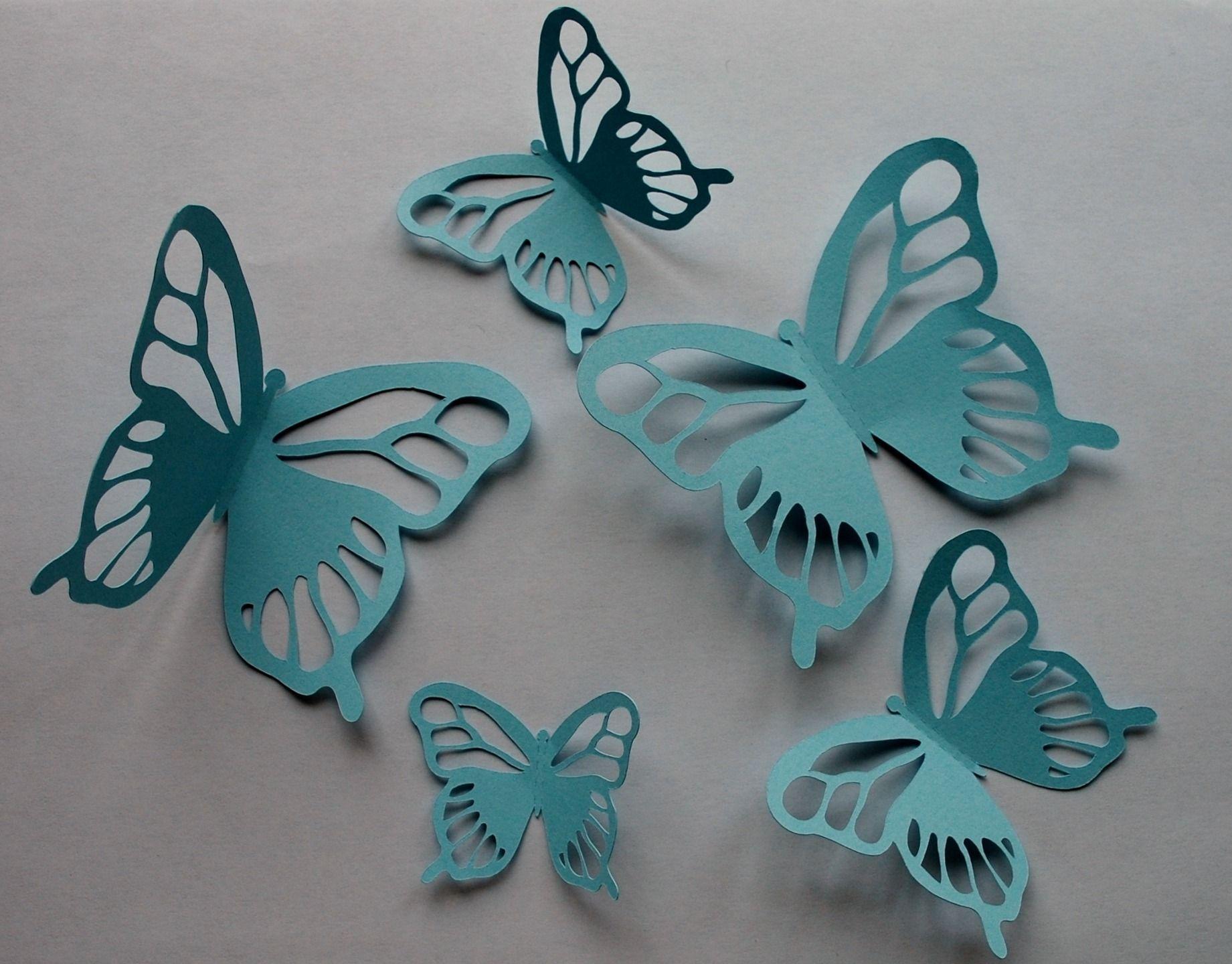 5 papillons en papier bleu pour décoration murale en 3D : Décorations murales par l-amaranthe-creation