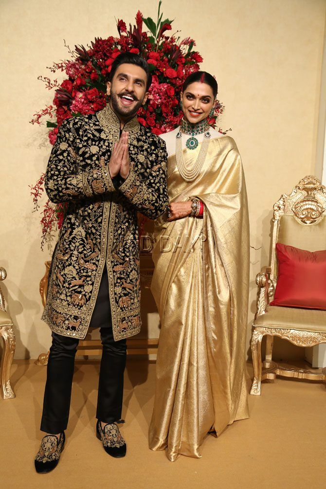 Deepika Padukone wore a shiny golden silk saree with full ...