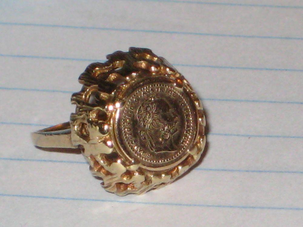 c4b65f0fdb303 Austrian 1915 Gold Ducat Yellow Gold Coin Ring Estate Piece womens ...