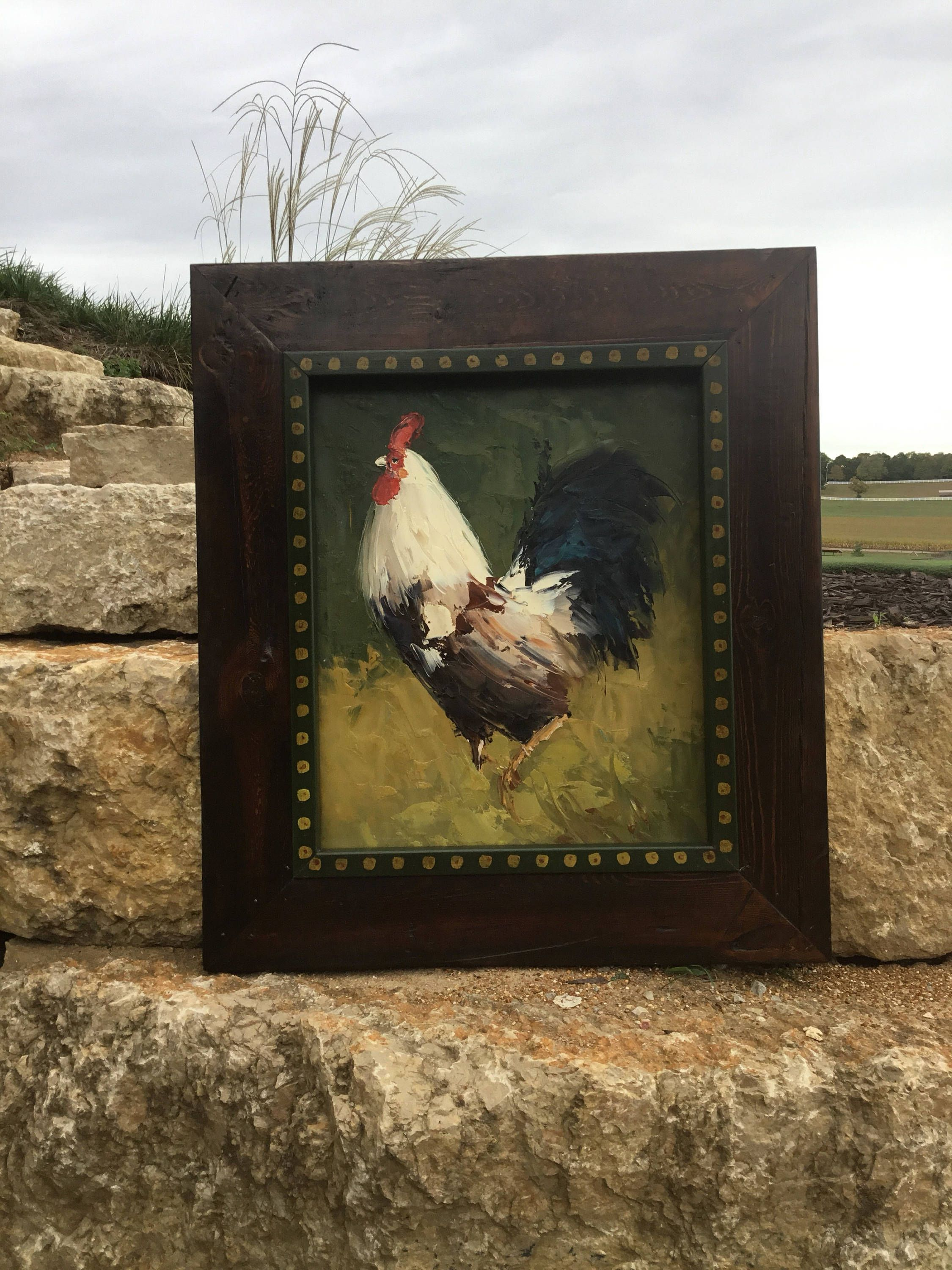 ON SALE Rooster oil painting witn handmade frame - $292.50 USD ...
