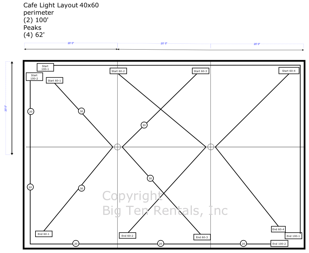 caf lights layout diagram for a 40x60 rope and pole tent [ 1045 x 856 Pixel ]