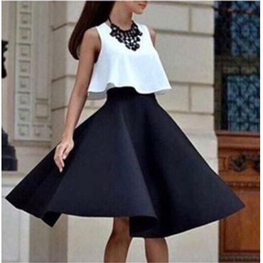 USD8.49Fashion O Neck Sleeveless Black Blending Women Two-piece Outfit