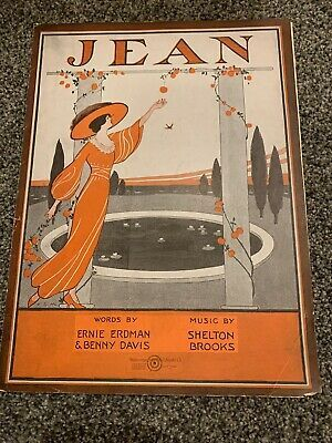 Details about Jean 1914 Vintage Sheet Music Framable Covert Art #vintagesheetmusic