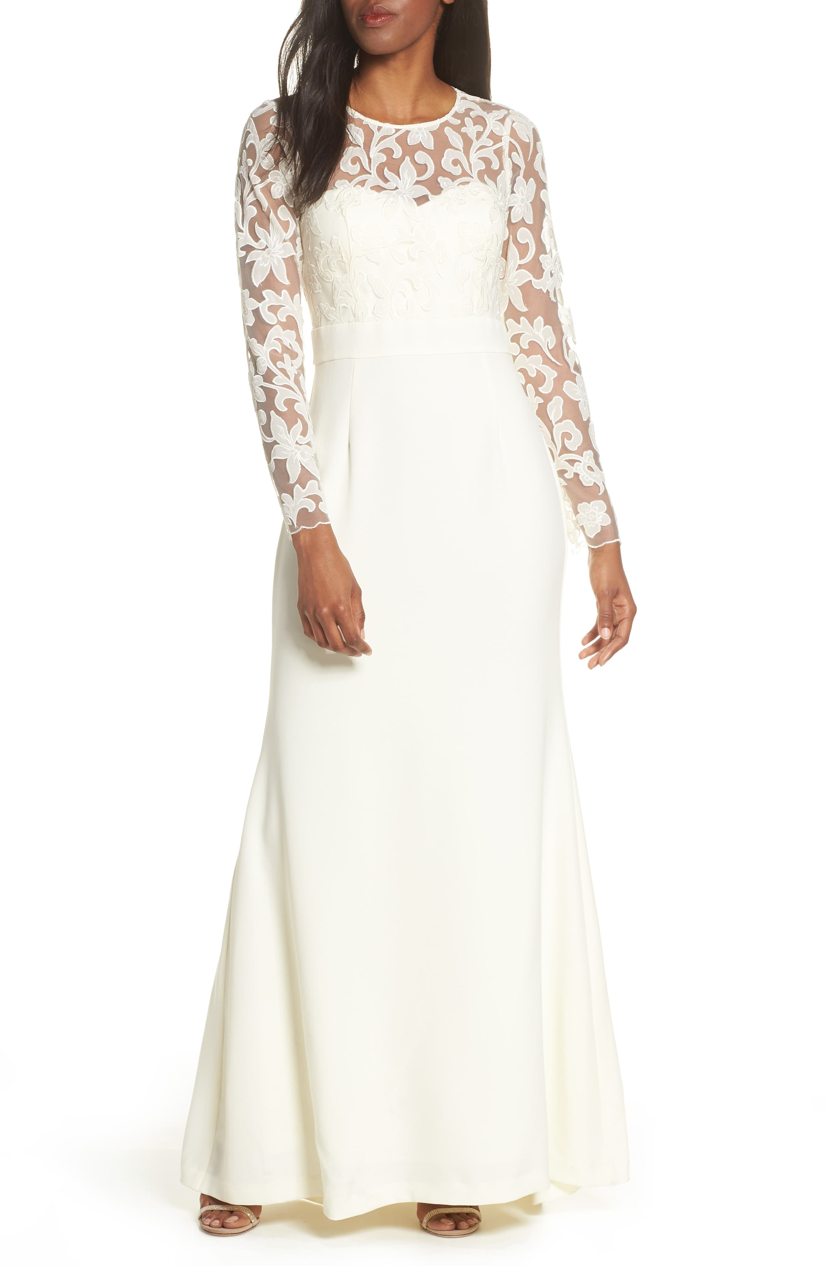 Eliza J Long Sleeve Embroidered Mesh Bodice Trumpet Gown Nordstrom Women Wedding Guest Dresses Trumpet Gown Wedding Guest Dress [ 4048 x 2640 Pixel ]