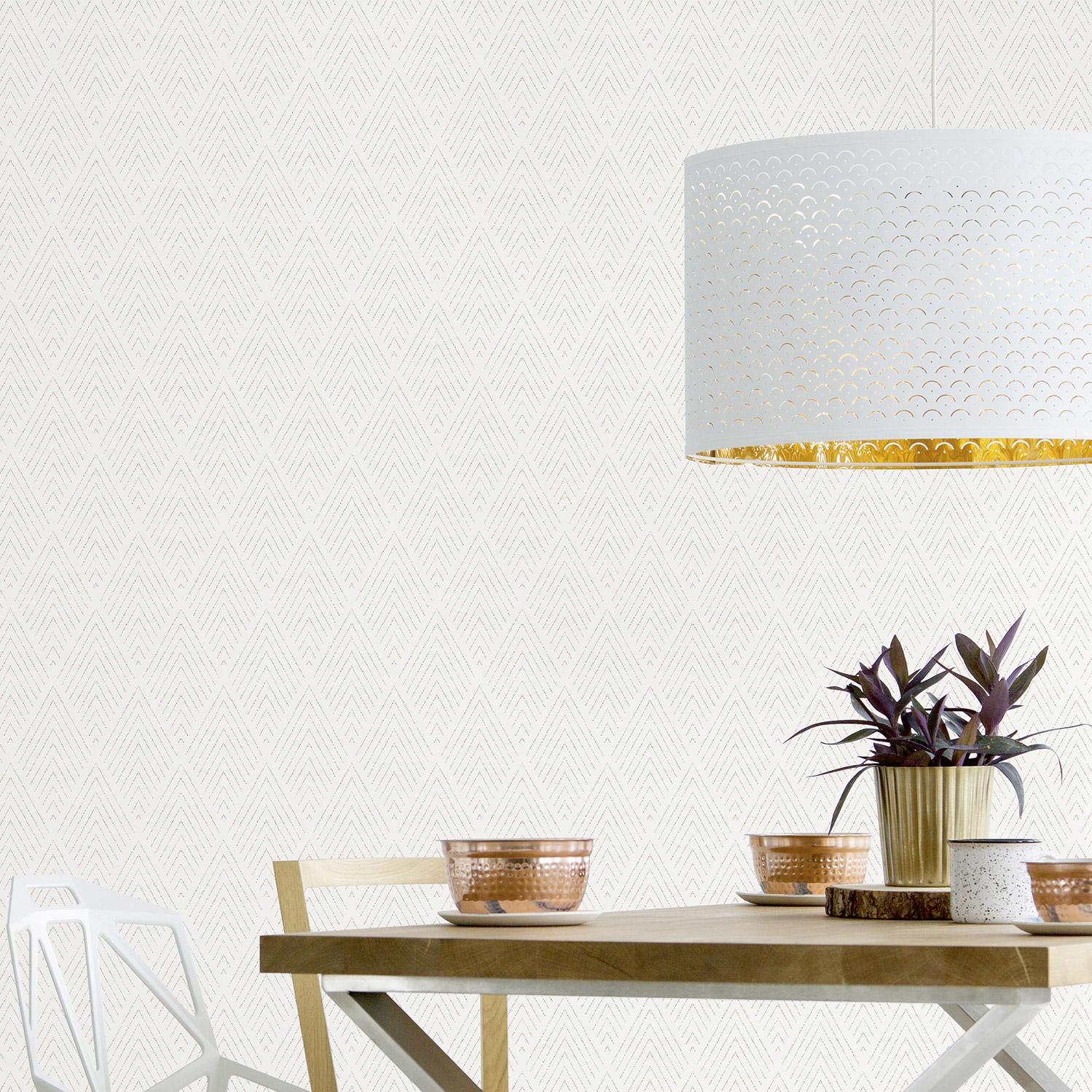 Le Papier Peint Est Il Recyclable papier peint vinyle sur intissé fitz losange blanc et cuivre