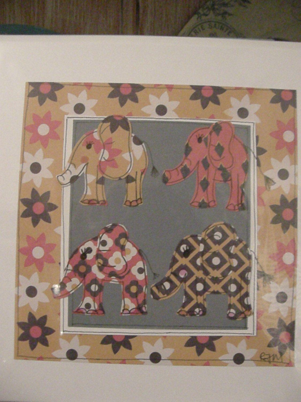"Handmade frame able 8 x 8"" beautiful bespoke retro patterned elephant card, beautiful keepsake for elephant lover by rhondastrees on Etsy"