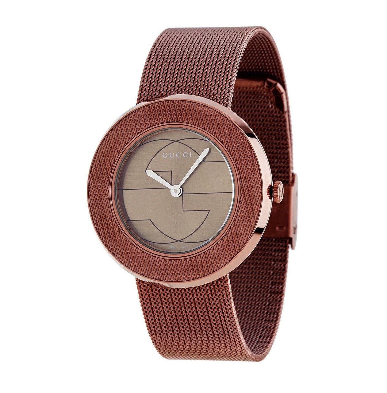 b8742fc5048 Gucci u-play medium brown pvd case  mesh band women s watch