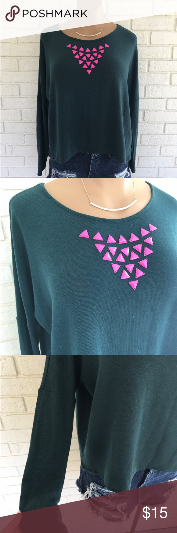 NWT teal green and pink jeweled top NWT. Teal green soft long sleeve flowy top with a pink triangle jeweled neckline. Round neckline. Slightly cropped length. Sleeves are fitted. Size medium by very j. Very J Tops Blouses