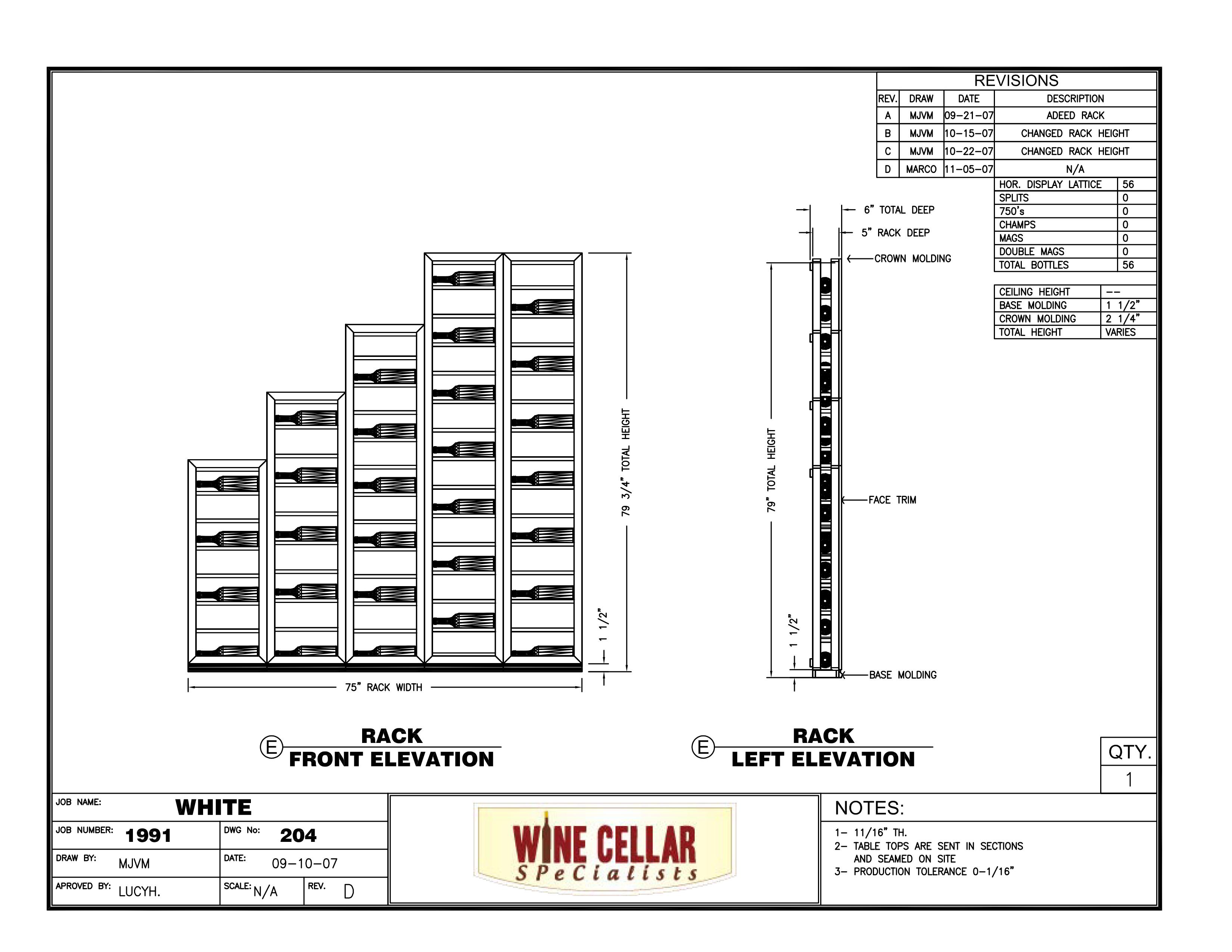 Residential Custom Wine Racks Chicago Horizontal Lable
