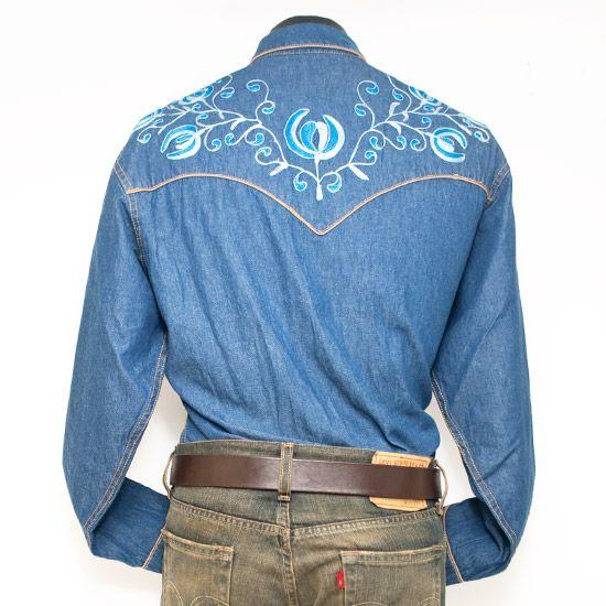 Western Yoke Designs Blue Denim Western Shirt With