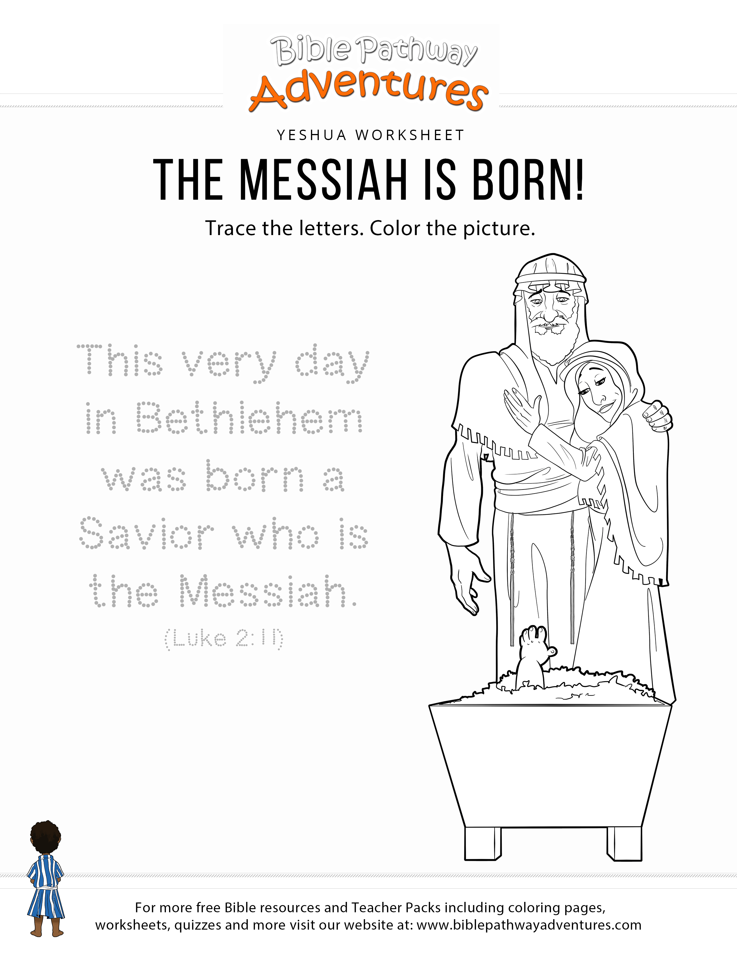 The Messiah Is Born Copywork Amp Coloring Page