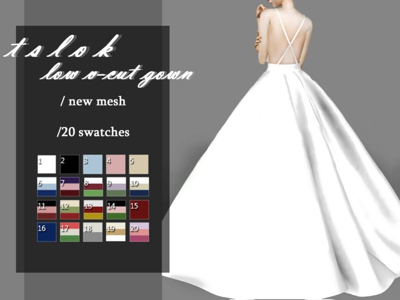 gown with a low V-Cut top. Found in TSR Category \'Sims 4 Female ...
