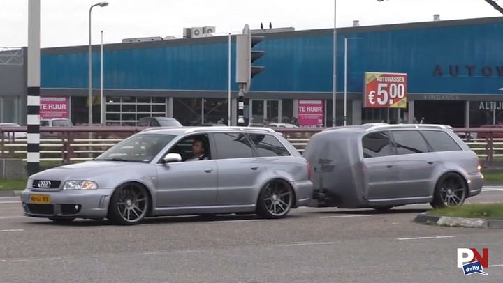 Audi Owner Made Car Trailer For His Audi From The Same Care Funny