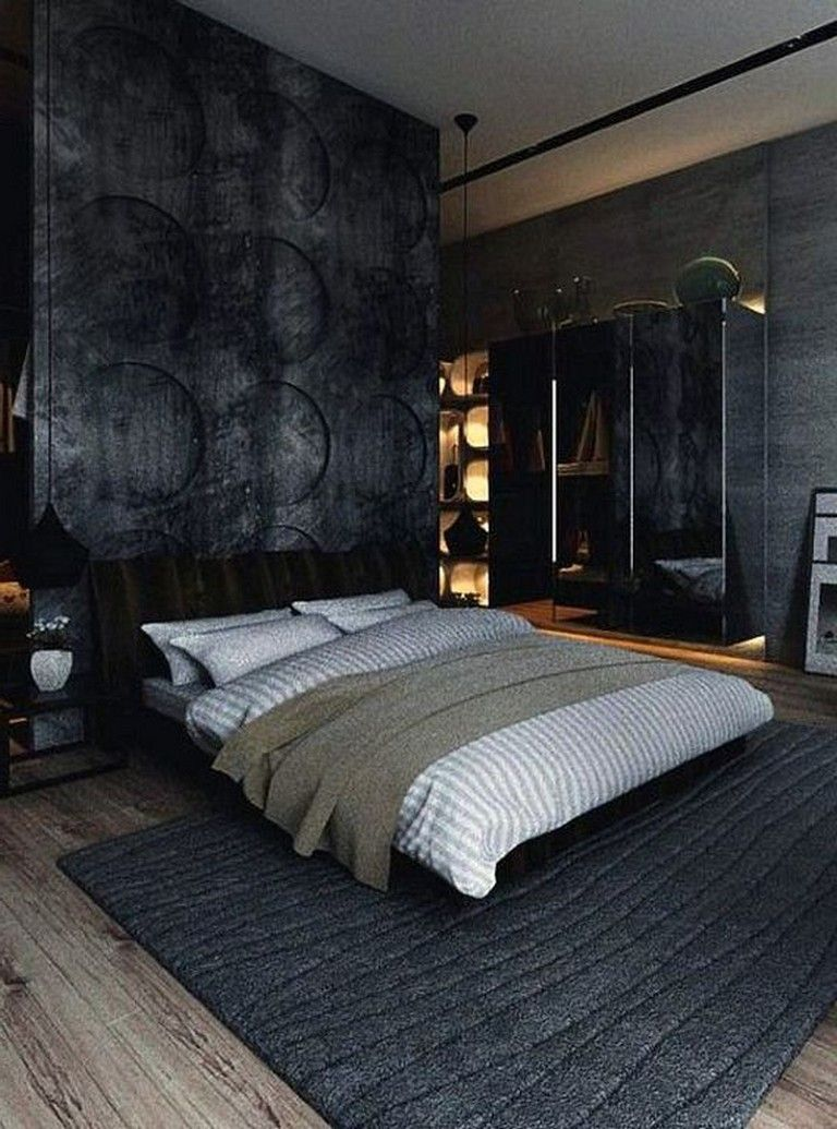 32+ Cozy Modern Minimalist Black and Grey Bedroom Decor Ideas ...