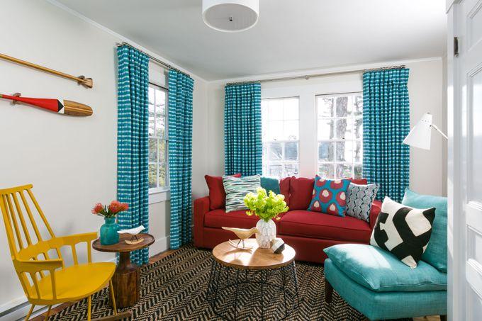 inspiring red turquoise living room | Whitehall – Camden, Maine | Living room turquoise, Living ...