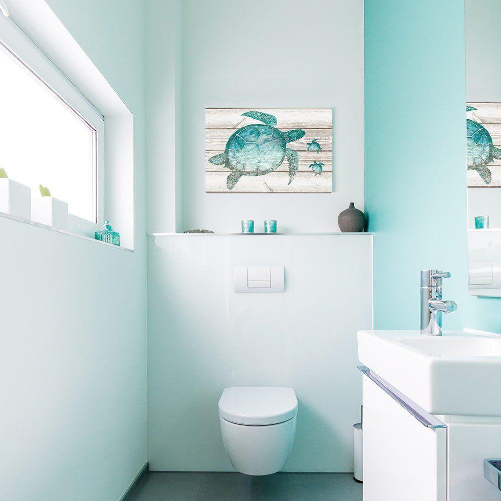 SUMGAR Wall Art for Bathroom Green Sea Turtle Wall Decor Vintage