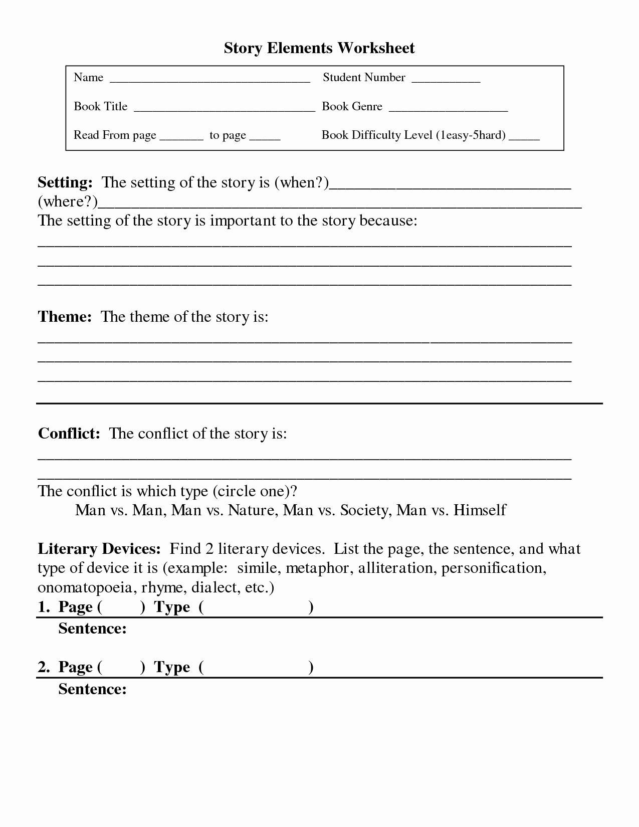 Elements Of A Story Worksheet Elegant 10 Best Of Short