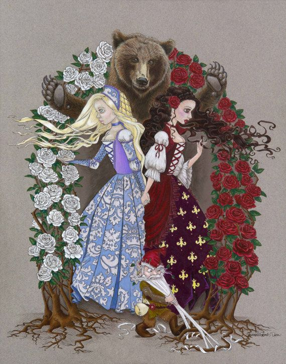 Snow White and Rose Red Fairy Tale Print #snowwhite