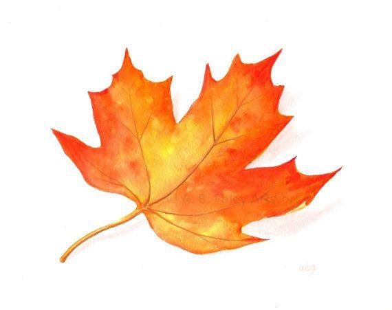 Items Similar To Fall Leaf Original Art Watercolor Nature Art