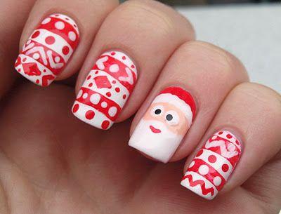 Santa Claus Nail Art Santa Nails Christmas Nails Christmas Nail Designs