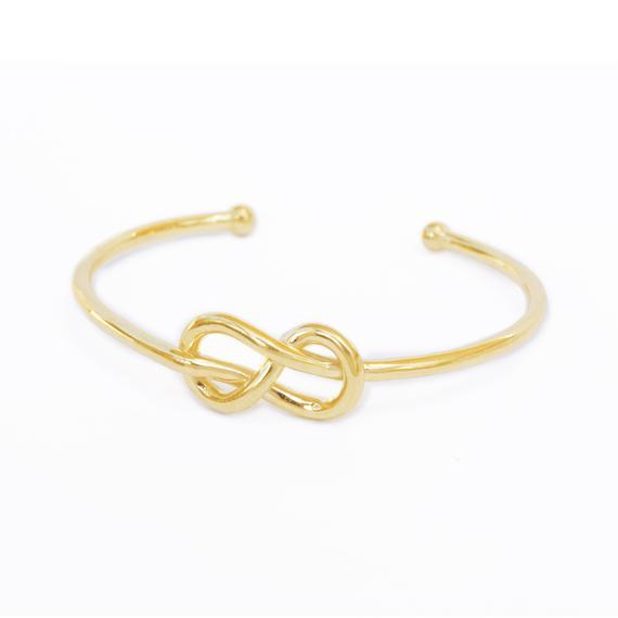 Infinity Knot Gold Cuff Bangle Diamond Cuff Bracelet Knot