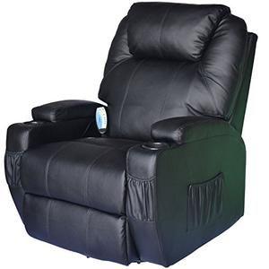 HomCom Deluxe Ergonomic Heated Vibrating PU Leather Massage Sofa Lounge Recliner - Black