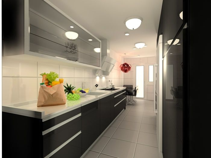 Cocina estrecha en blanco y negro cocina pinterest for Soluciones cocinas estrechas