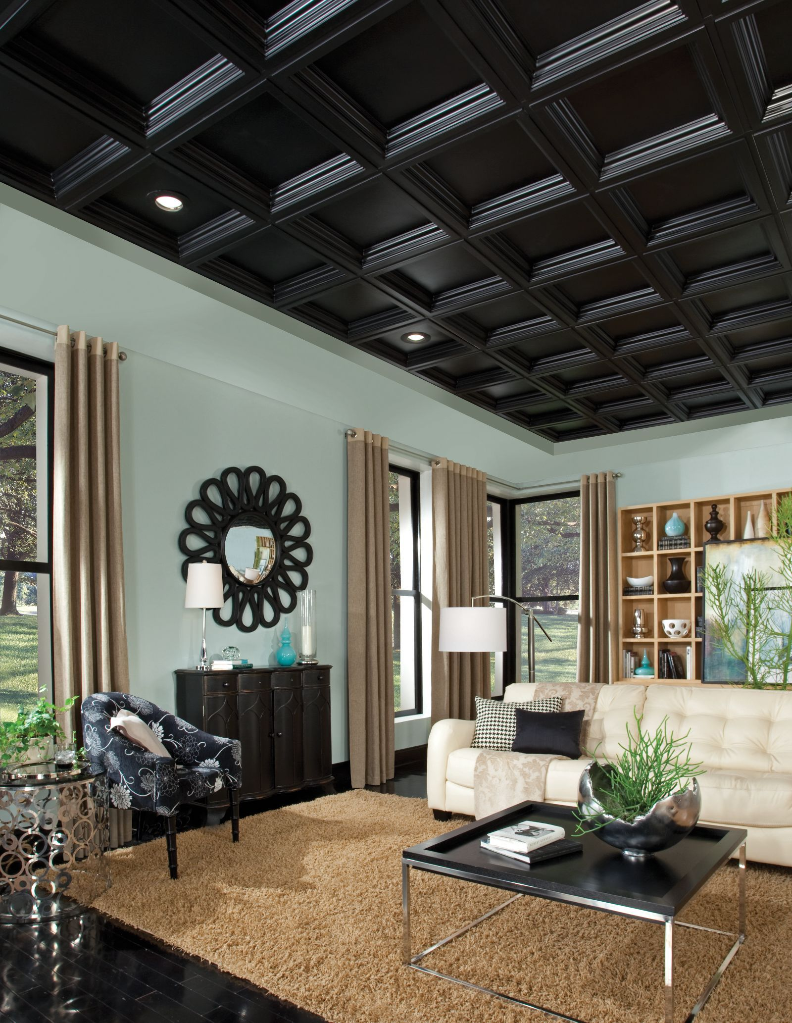 Coffered ceiling tiles can give any ceiling a dramatic appearance coffered ceiling tiles can give any ceiling a dramatic appearance perfect for basements or any dailygadgetfo Image collections