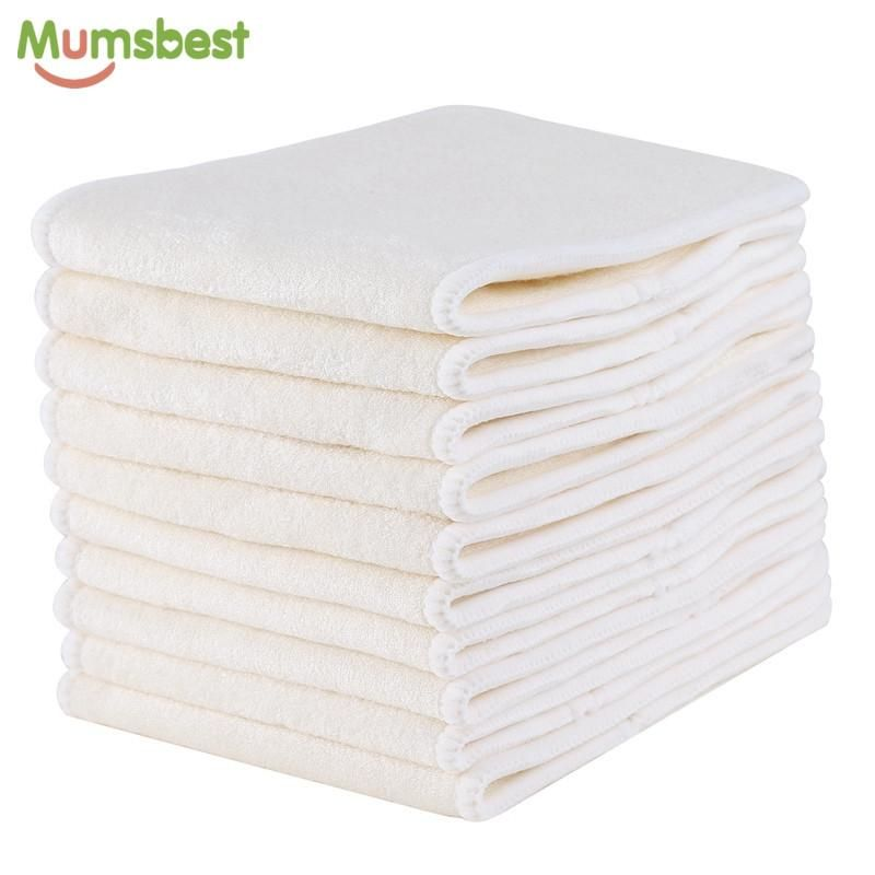 10Pcs Reusable Washable 3 Layers Bamboo Cotton Baby Cloth Nappy Diaper Insert