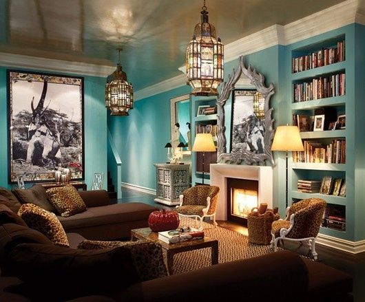 Good Famous Turquoise Living Room Design   With Leopard Chairs U0026 Pillows _  Alkemie: The Great Thomas Britt   Old World Flavour With Modern Color And  Elegance