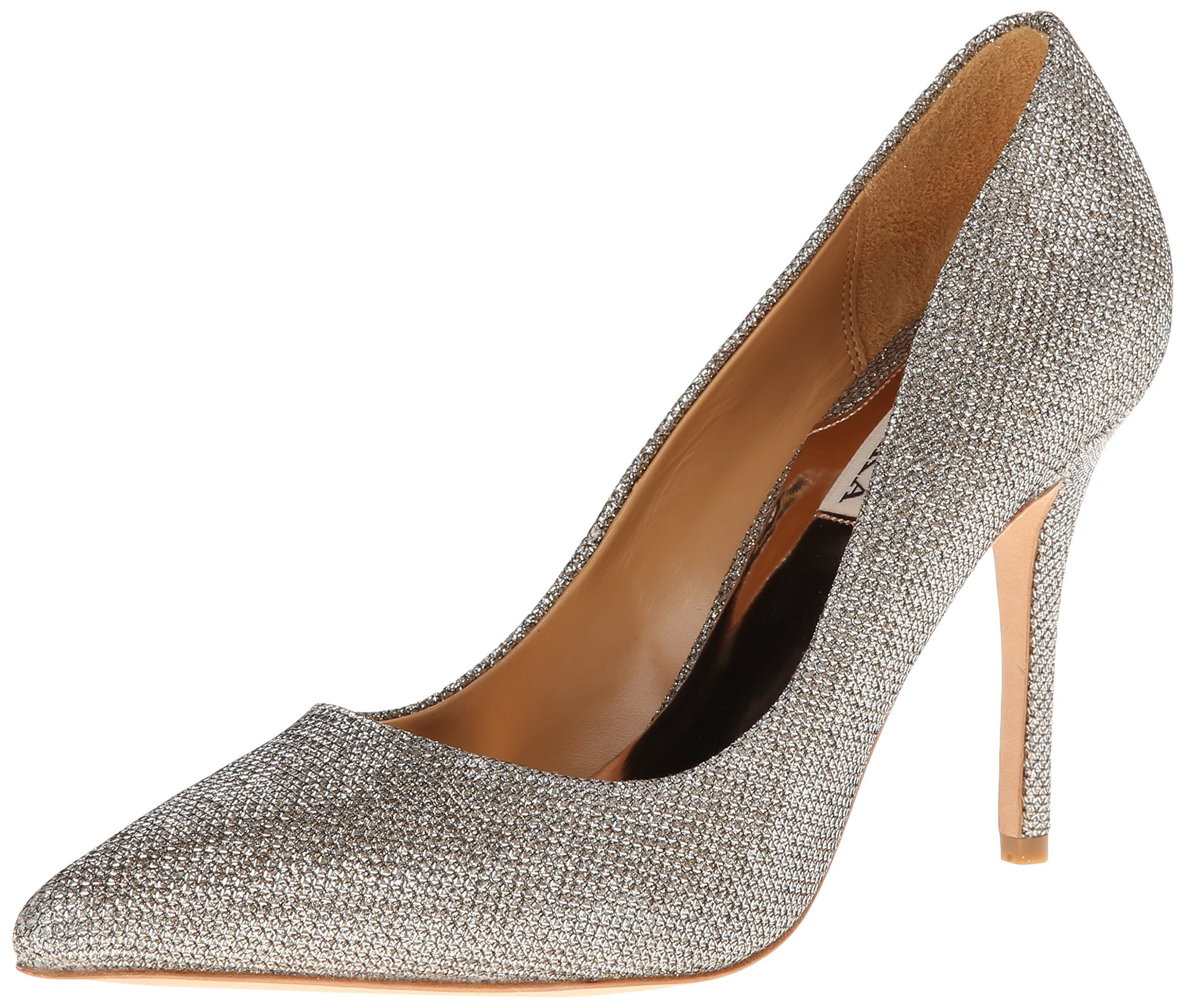 Badgley Mischka Women's Luster Dress Pump,Platino,6 M US. Textured pump in