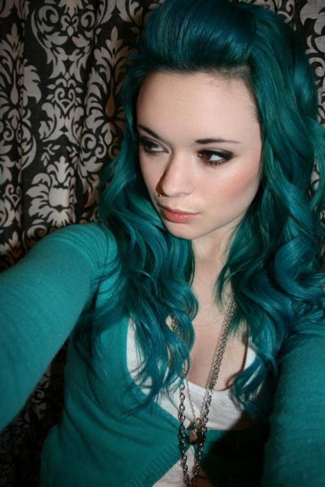 #crazy #colored #hair #blue #teal #color #colors #colour #colours #curl #long