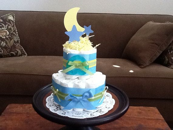 Moon And Stars Whimsical Diaper Cake Baby Shower Centerpiece Two